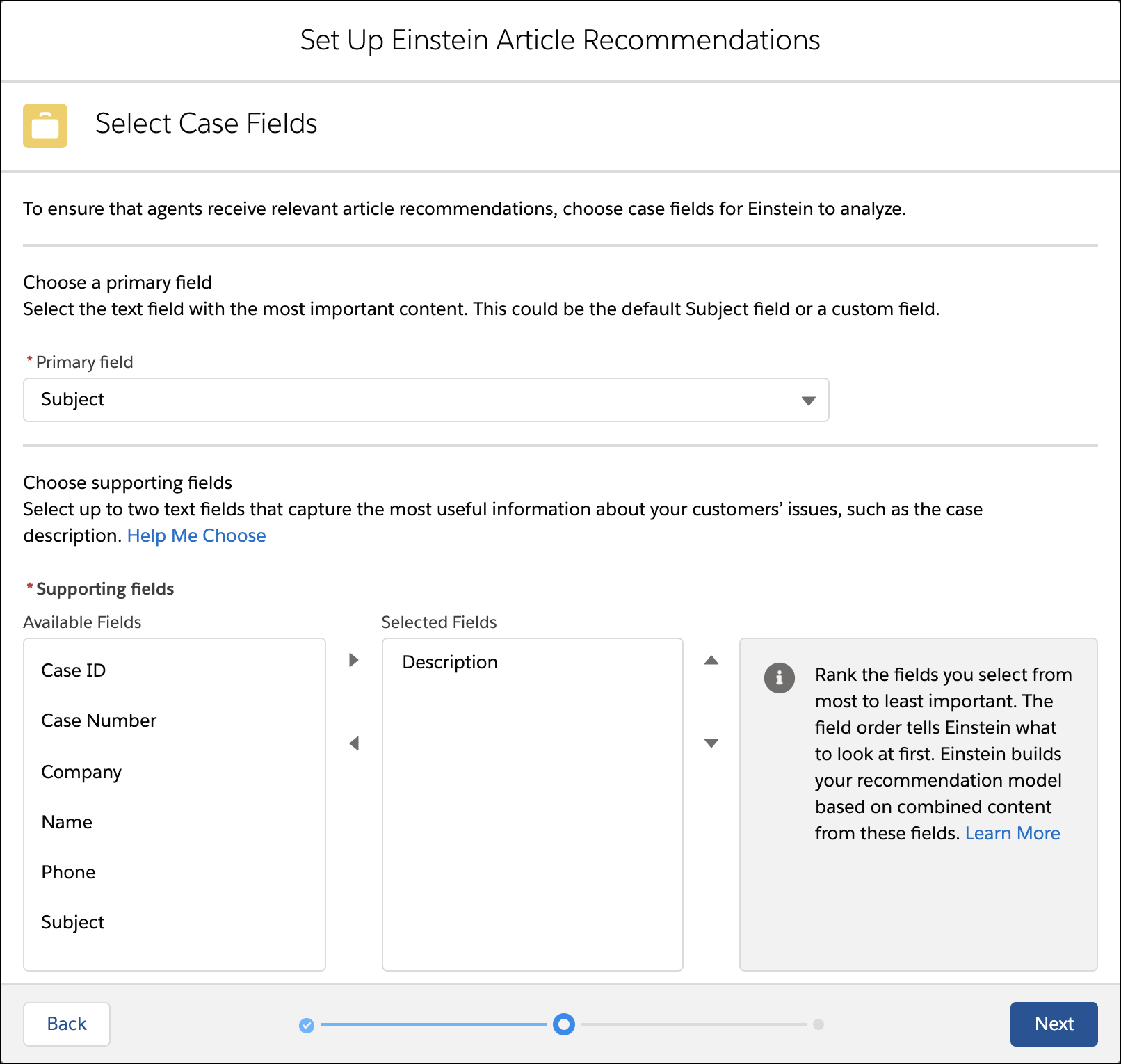 Einstein Article Recommendations select case fields screen with Internal Comments and Description as the selected fields.