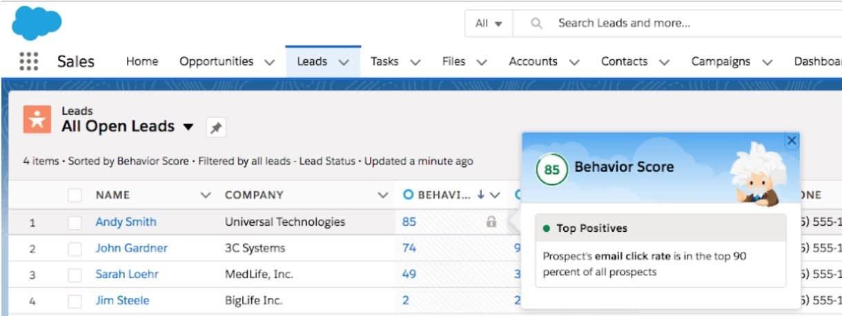 Einstein Scoring component in Lead list view.