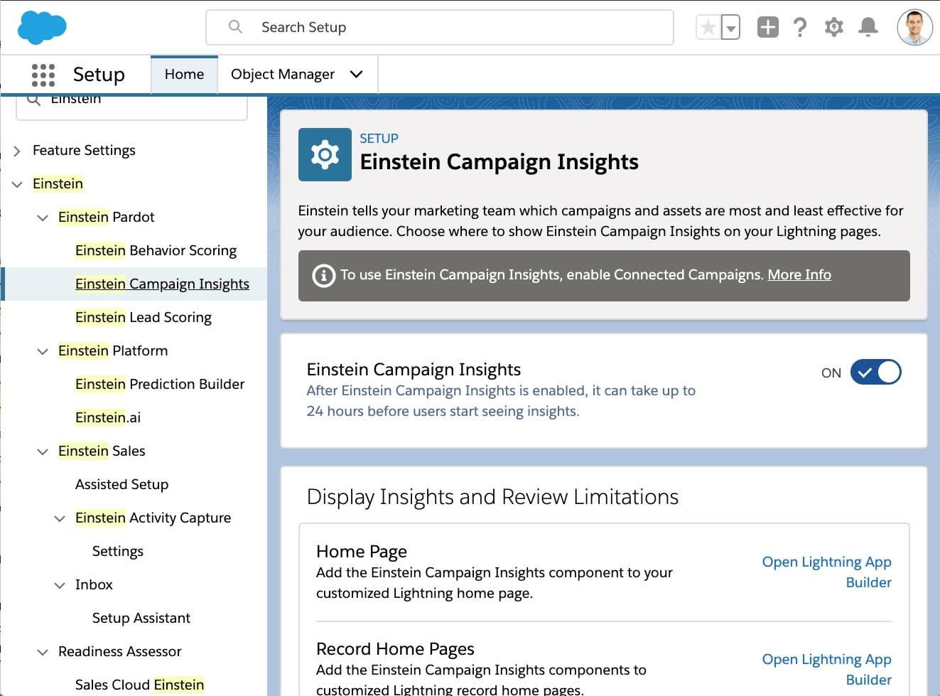 [設定] メニューで有効化される Einstein キャンペーン インサイト。