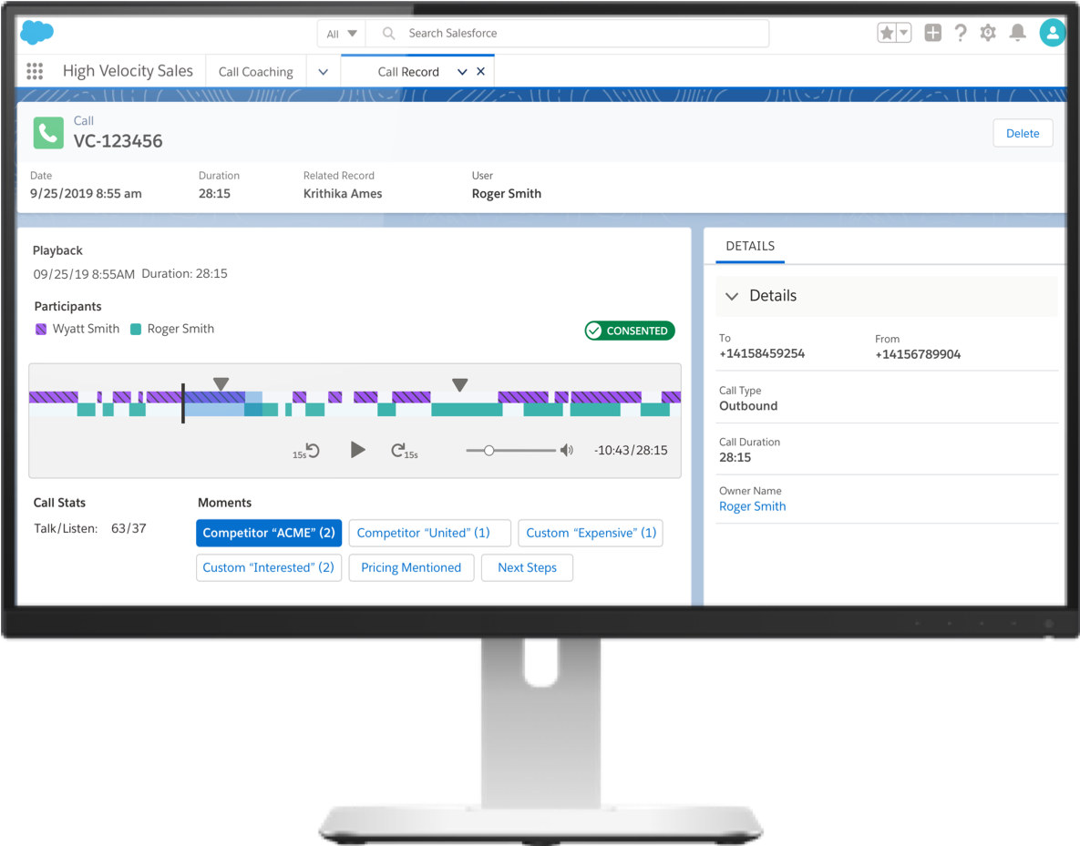 Image of the Salesforce Einstein Call Coaching Call Recording Dashboard