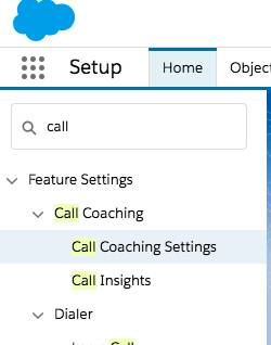 Image of dropdown showing call coaching settings