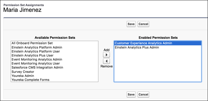 The permissions required to administer Einstein Customer Lifecycle Analytics.