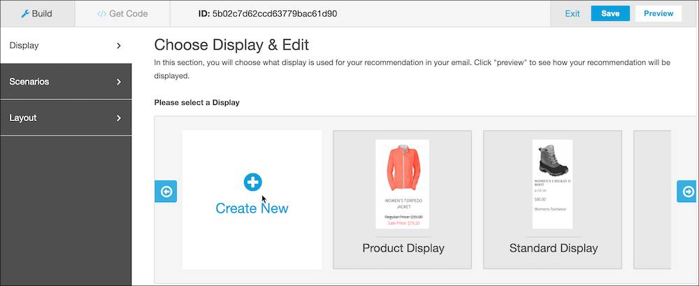 Choose display and edit screen for display selection or create new.