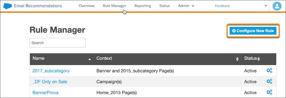 Rule Manager with Configure New Rule circled.