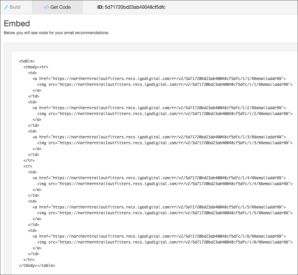 Embed code for email recommendation.