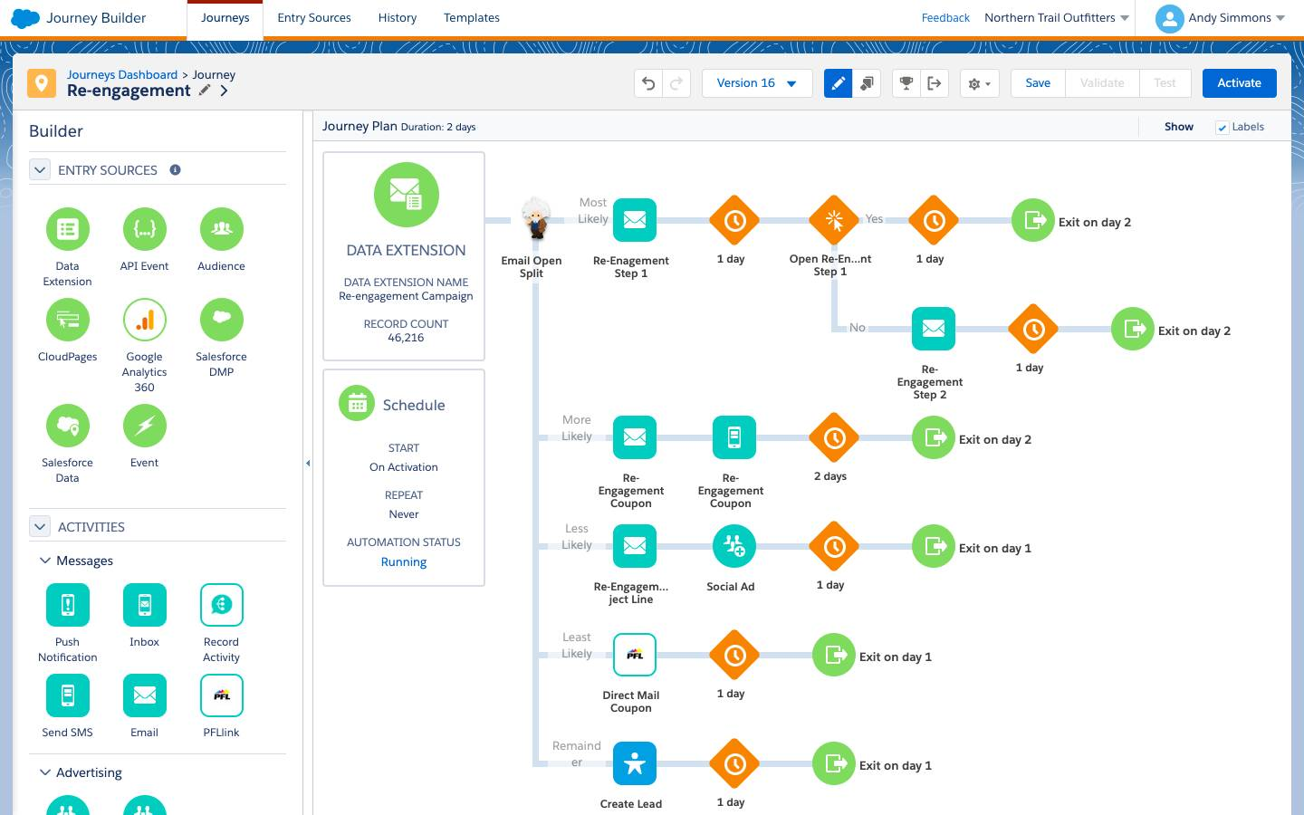 Einstein Split within Marketing Cloud Journey Builder, creating branches based on a subscriber's open likelihood and different channel engagement strategies for each branch.