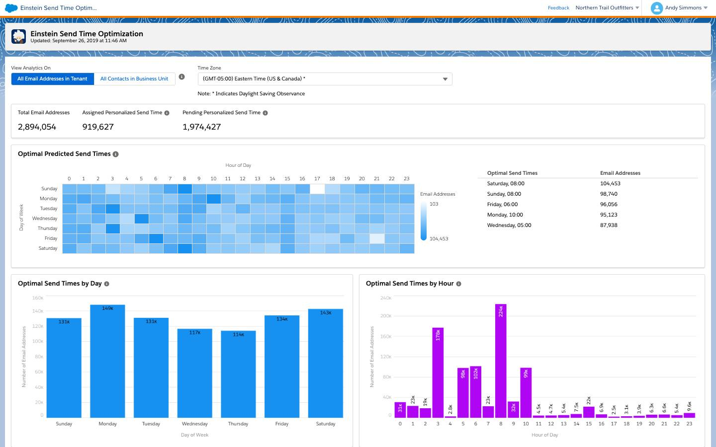 Einstein Send Time Optimization analytics dashboard showing trends like optimal send time by day or by hour.
