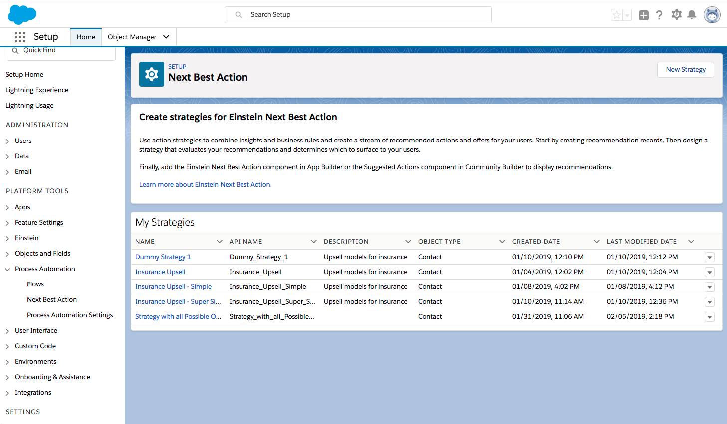 Page de configuration d'EinsteinNextBestAction