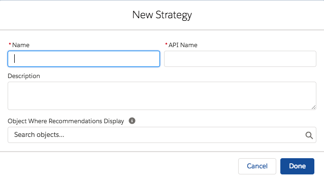 New Strategy dialog box to enter in details of the action strategy