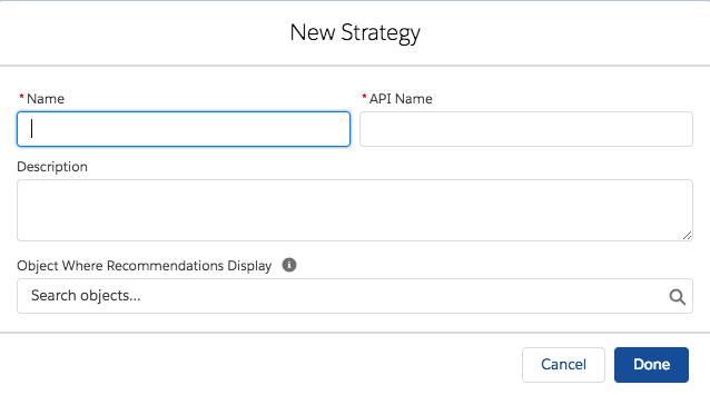 Dialogfeld 'Neue Strategie', in das Details der Aktionsstrategie eingegeben werden