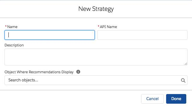 Boîte de dialogue Nouvelle stratégie, permettant la saisie des détails de la stratégie d'action