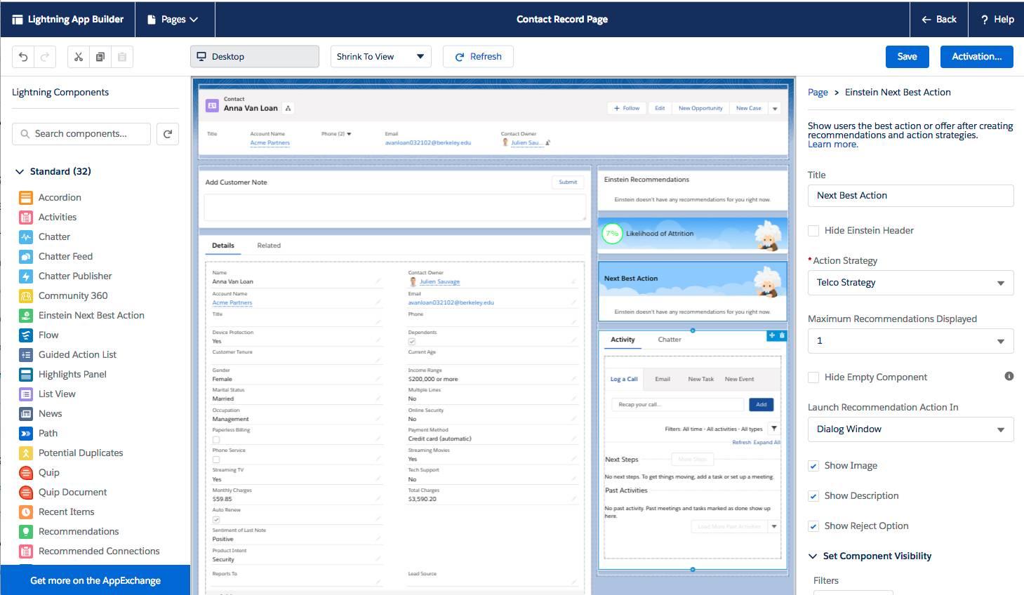 Interface du Générateur d'applications Lightning, avec le composant EinsteinNextBestAction sur la page Contact