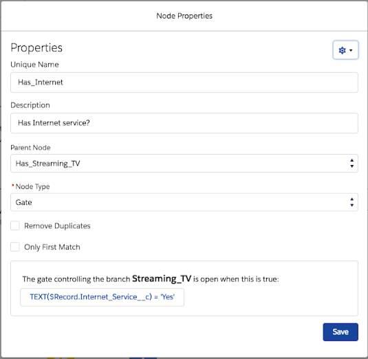 Página Propriedades do nó que mostra o registro Has_Internet