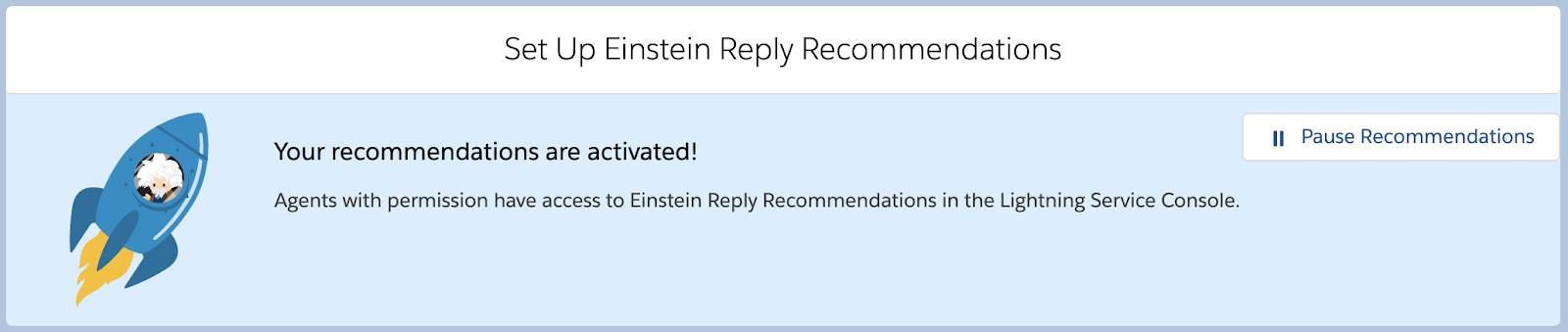 Set Up Einstein Reply Recommendations page showing confirmation of activation.