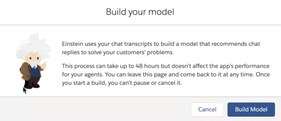 Build your model screen with Build Model button.