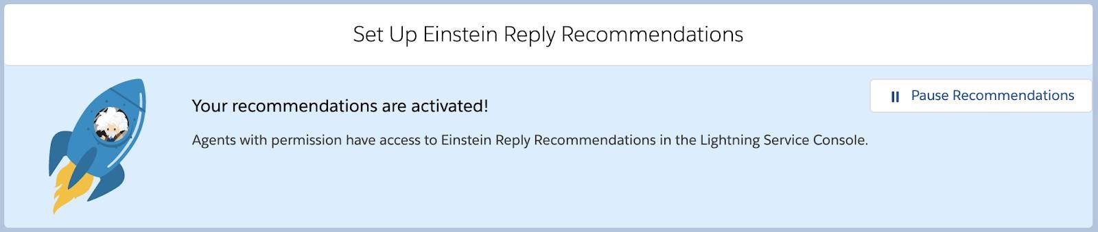 Página Recomendações de resposta do Einstein com a confirmação da ativação.