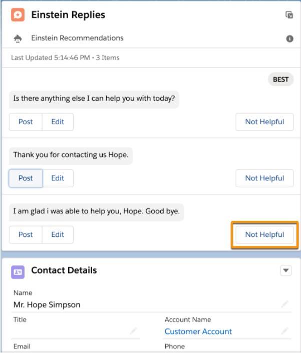 Botão Não é útil em destaque abaixo de uma recomendação de resposta.