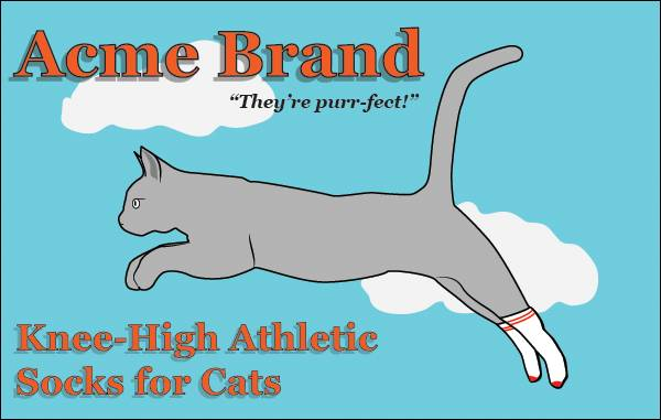 Acme Brand knee-high athletic socks for cats