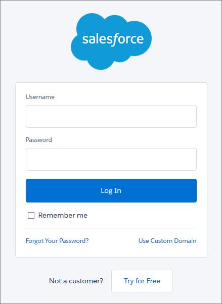 Salesforce ログインページ。