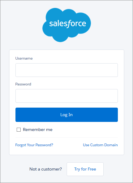 A página de login do Salesforce.