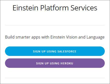 A página de inscrição nos serviços da Einstein Platform.