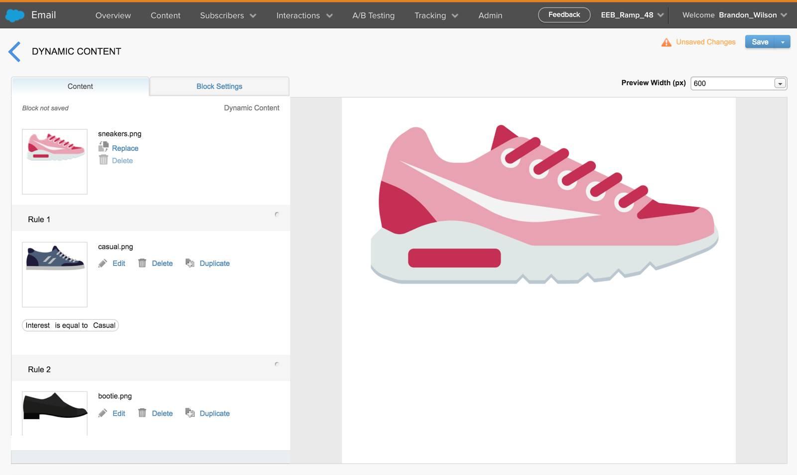 Captura de tela da criação de regra de conteúdo dinâmico