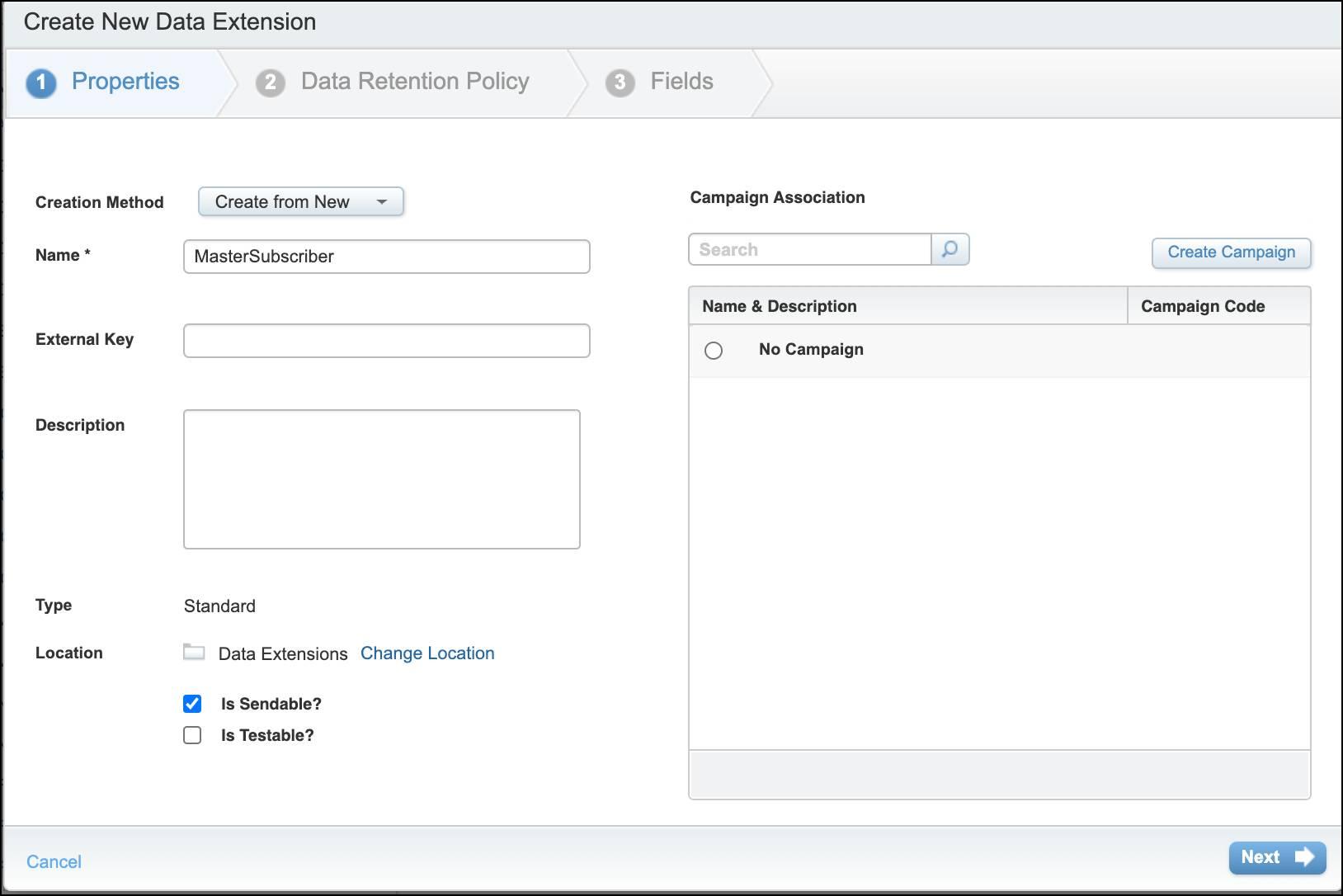 [新しいデータエクステンションの作成] ダイアログボックスでプロパティを追加する。