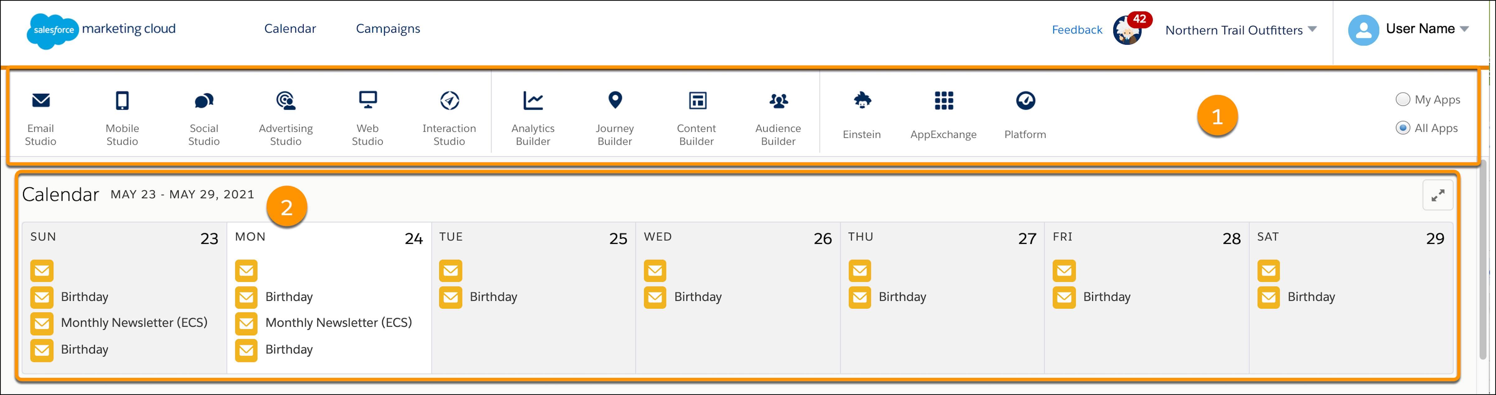 ナビゲーションバーとカレンダーのコールアウトが表示されている Marketing Cloud ホームページ。