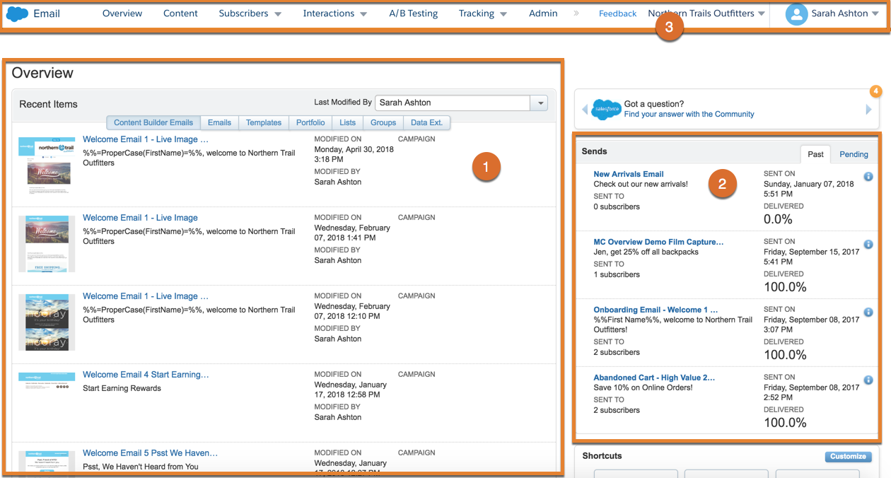 最近のアイテム、送信、ビジネスユニットのコールアウトが表示されている Email Studio ナビゲーション。