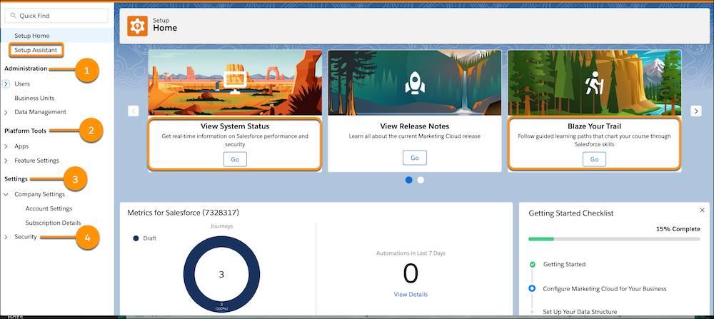 Page d'accueil de Configuration avec des appels pour l'administration, les outils de la plate-forme, les paramètres, la sécurité, l'assistant de configuration, l'état du système et Trailhead.