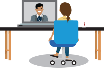 A manager and direct report in a virtual one-on-one meeting