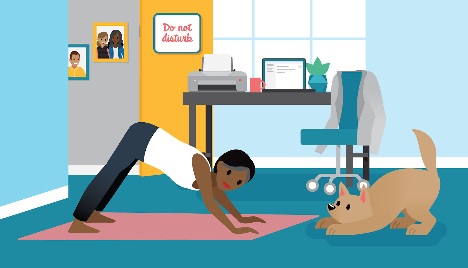 Woman doing yoga in her home office