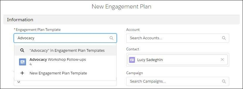 New Engagement Plan form