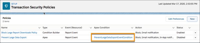Main Transaction Security Policies page showing the new Prevent Large Data Export policy with its auto-generated Apex class PreventLargeDataExportEventCondition listed in the Apex Condition column highlighted