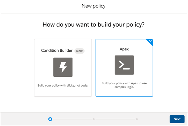 New policy page showing options for using Condition Builder or Apex, with Apex selected.
