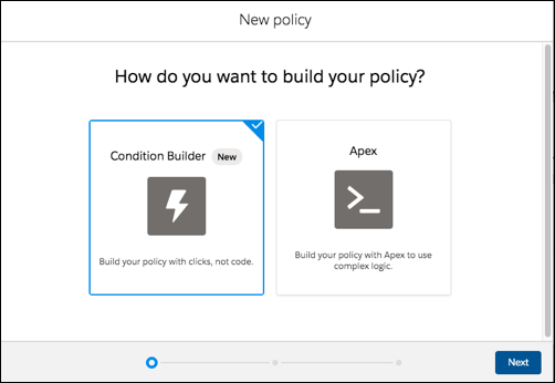 New policy page showing options for using Condition Builder or Apex, with Condition Builder selected.