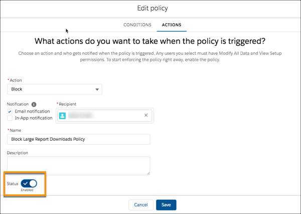 Actions page for edited policy highlighting how to enable it.