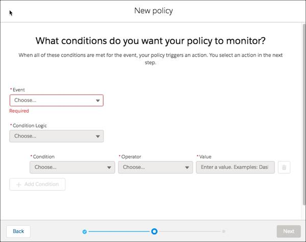 Conditions page for new policy.