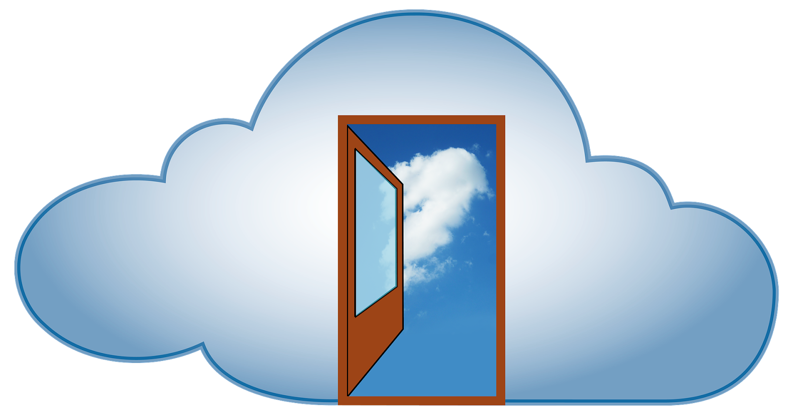 Open door in a cloud