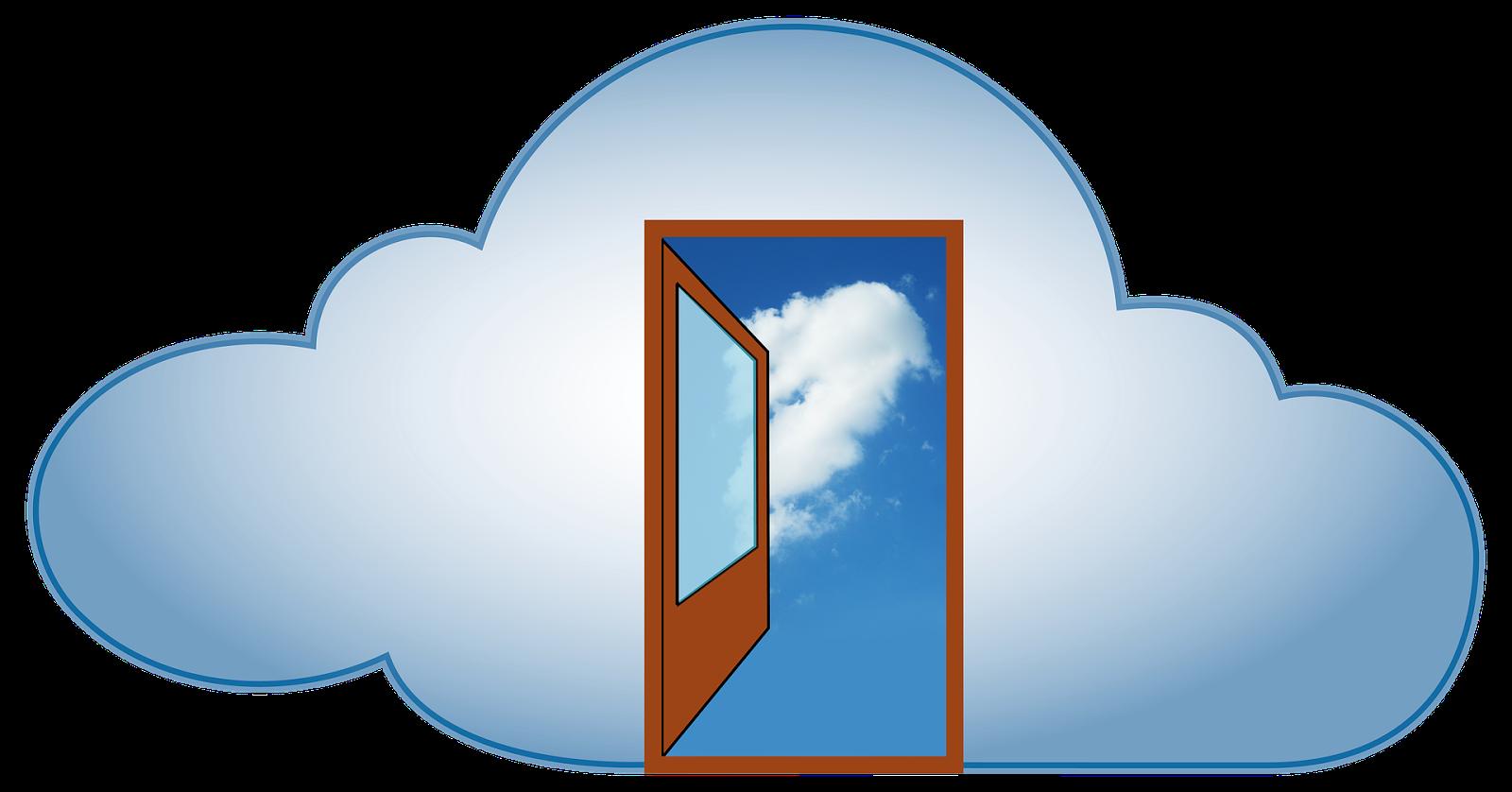 Offene Tür in einer Wolke