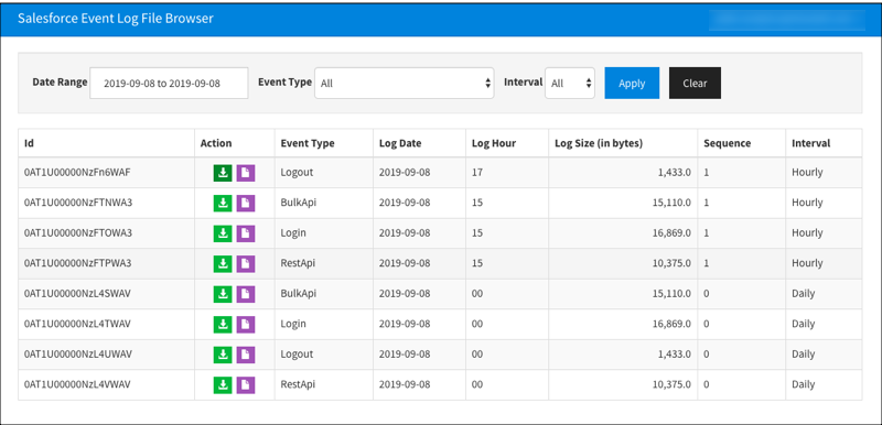 The event log file browser page.