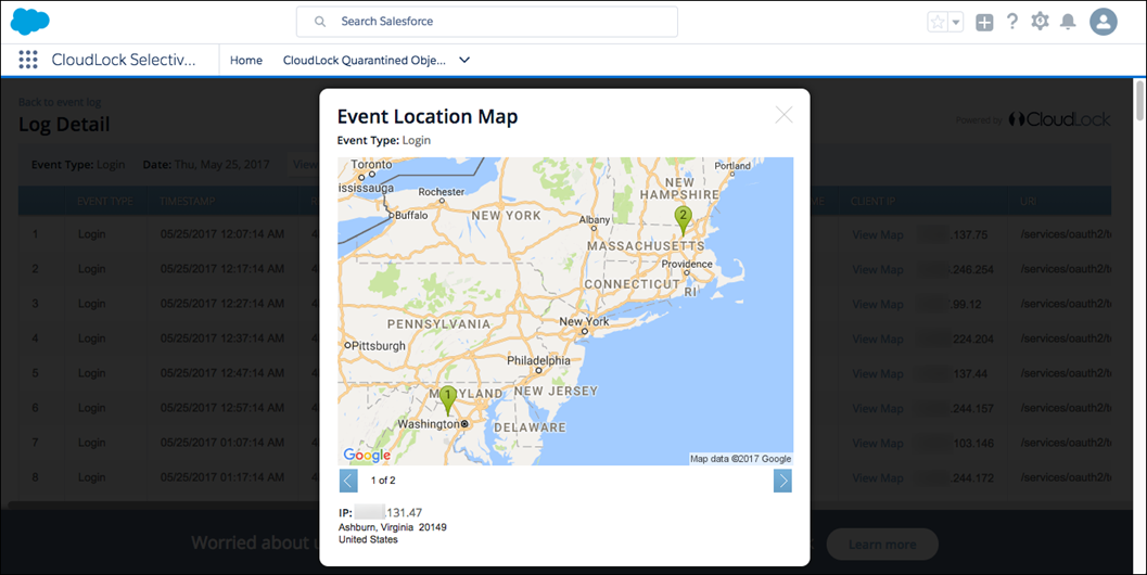CloudLock Event Location Map displayed in Salesforce org