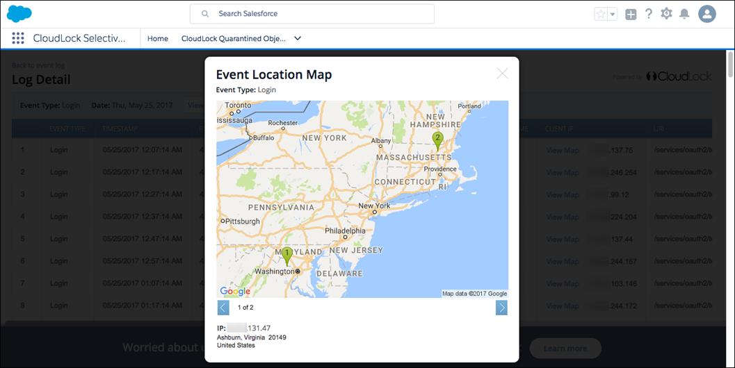 Carte d'emplacement des événements CloudLock affichée dans l'organisation Salesforce