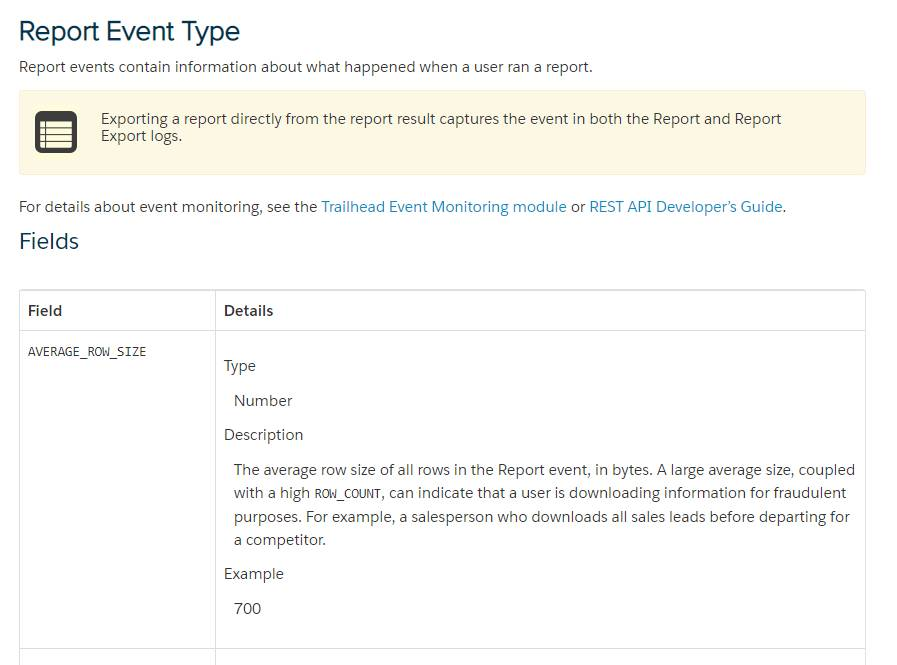 Report Event Type page
