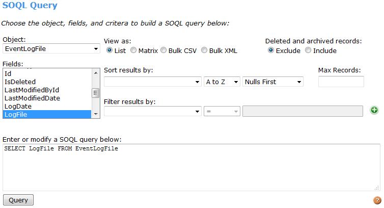 Simple requête dans l'éditeur de requête SOQL qui utilise l'API SOAP.
