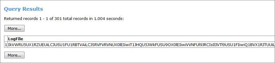 Fichier journal inintelligible de la requête SOQL.