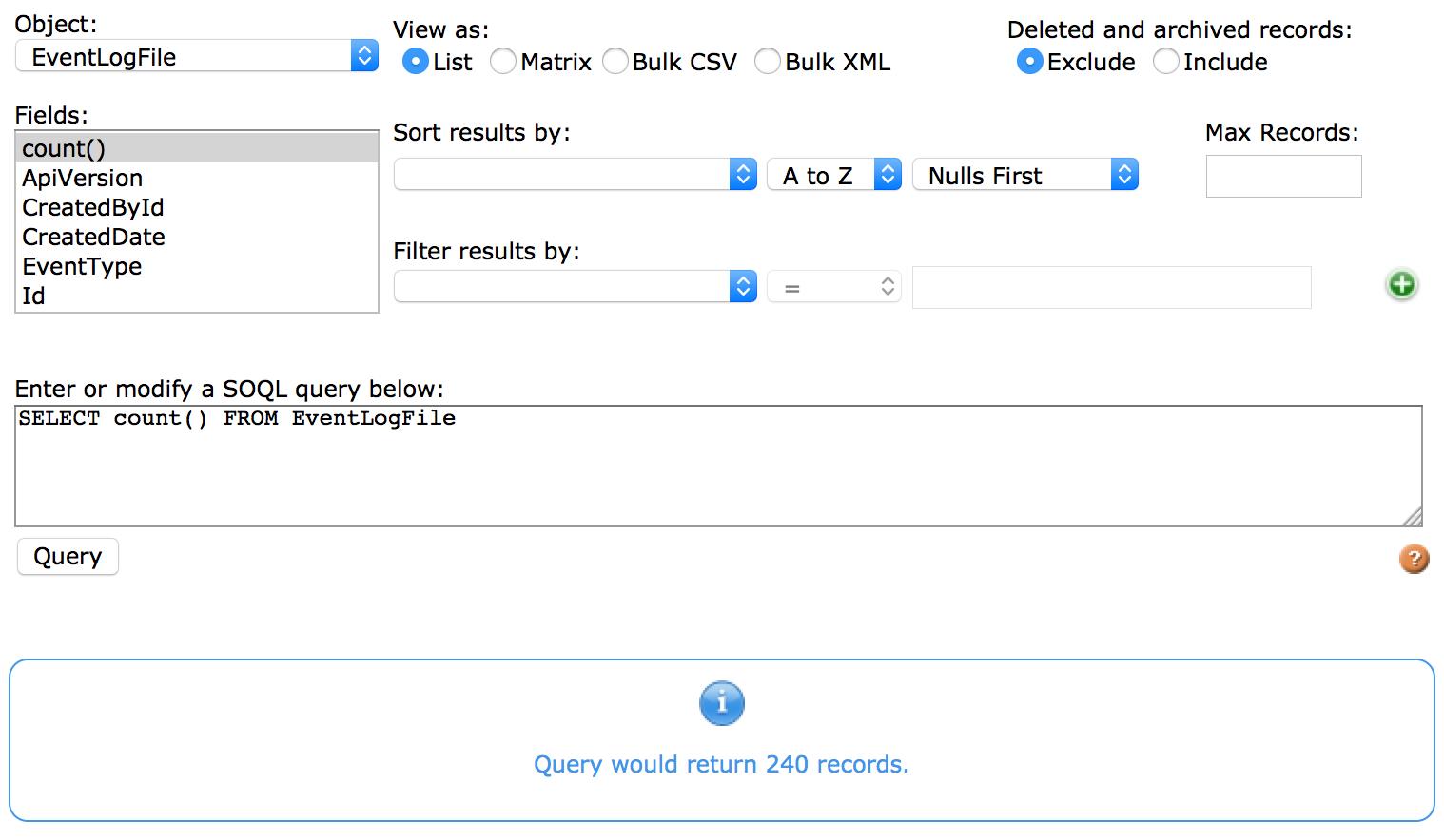 Fonction count() dans l'éditeur de requête SOQL.
