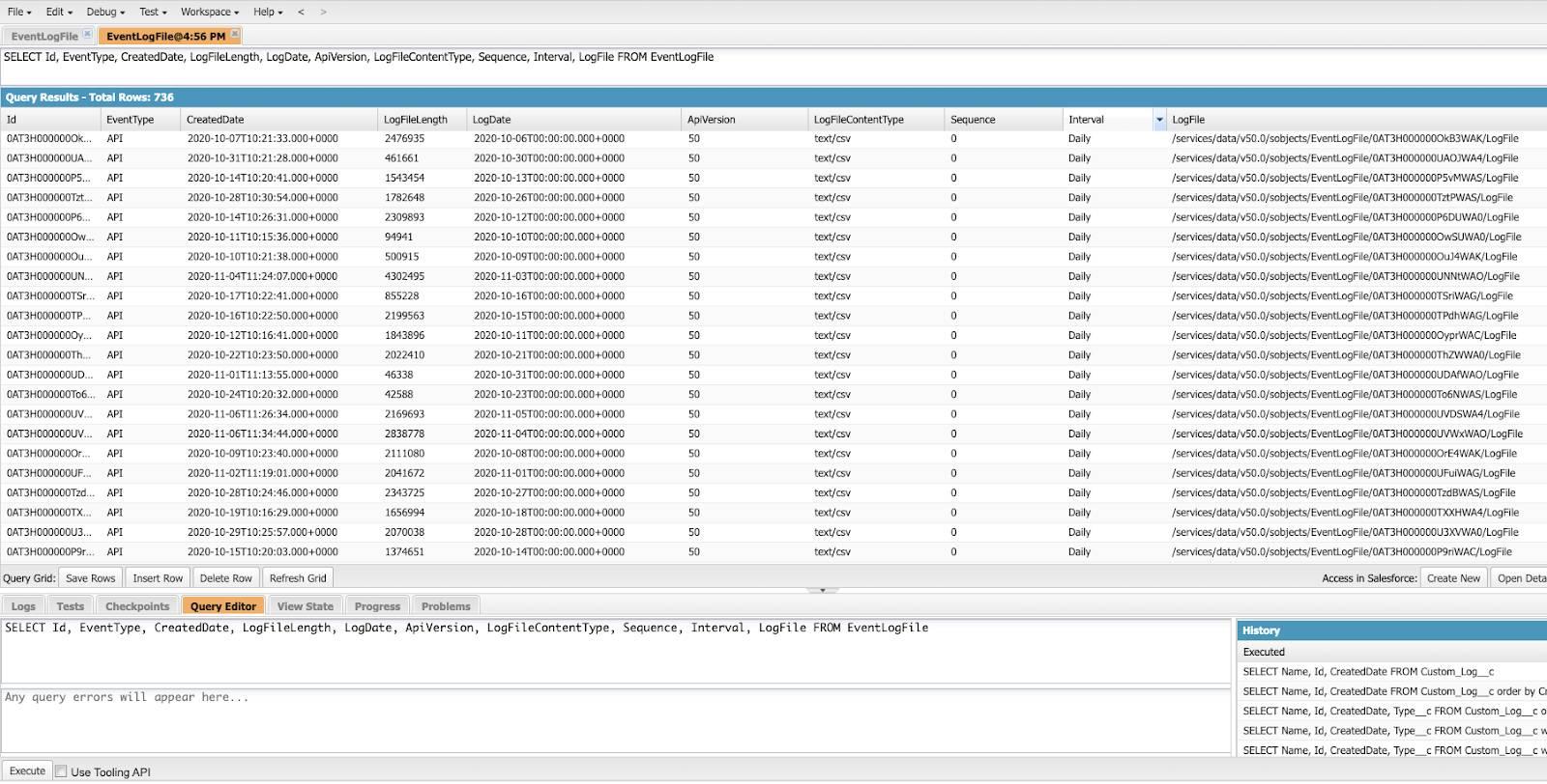 Captura de tela exibindo resultados da consulta
