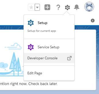 Captura de tela exibindo o menu de acesso rápido usado para abrir o Developer Console no Lightning Experience