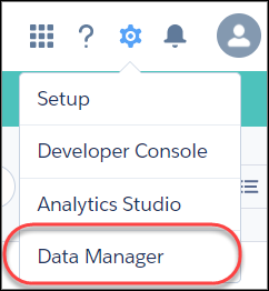 Gear icon menu with Data Manager option highlighted